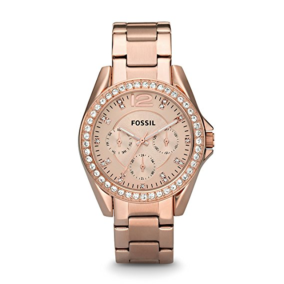 montre or rose femme fossil